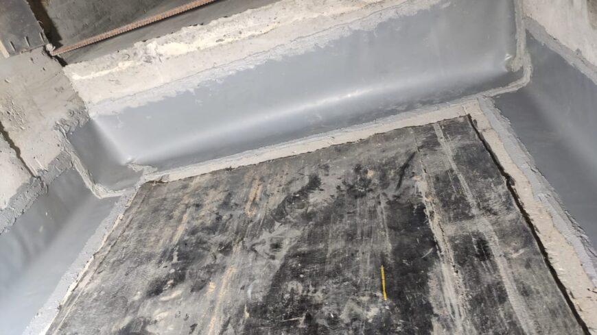 Произведены работы по гидроизоляции диформационного шва на подземной парковки. Ереванская улица